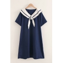 Preppy Girls Short Sleeve Striped Printed Sailor Collar Mid A-line Dress in Navy