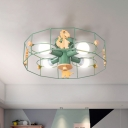 Green Polygon Cage Semi Flush Chandelier Cartoon 4 Bulbs Metal Ceiling Light with Wood Dinosaur