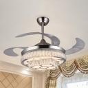 Nickel Finish 2-Tier Hanging Fan Light Modern Crystal-Block LED Semi Mount Lighting with 3 Blades, 42.5