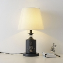 Tapered Shade Bedside Night Table Lamp Fabric 1-Light Macaron Nightstand Light in Black/Water Blue