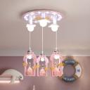 Princess Cluster Pendant Cartoon Resin 7-Head Girl's Bedroom Hanging Lamp in Pink