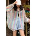 Amazing Ladies Metallic Colorful Striped Long Sleeve Turn down Collar Button down Curved Hem Long Oversize Shirt Top in White