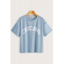 Korean Girls Letter Chicago Printed Short Sleeve Crew Neck Relaxed Tee Top