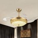 Faceted Crystal Domed Hanging Fan Light Modern 42.5