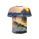 Trendy Mens Fish Lake 3D Printed Short Sleeve Crew Neck Relaxed Fitted T-shirt