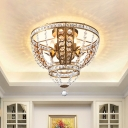 5-Light Open Gourd Flush Ceiling Light Traditional Gold Crystal Flush Mount Lamp for Dining Room