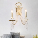 Crystal Beading Gold Wall Mount Light Candlestick 2 Lights Traditional Sconce Lighting Fixture