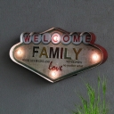Iron WELCOME Letter Signage Wall Light Retro White LED Decorative Night Light for Shop