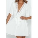 Stylish Womens Solid Color Bell Sleeves Lace Trimmed V-neck Bow Tie Waist Short A-line Dress in White