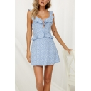 Pretty Ladies Ditsy Floral Printed Ruffled Trim Bow Tie Sleeveless Scoop Neck Open Back Short A-line Dress in Light Blue