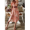 Casual Womens Allover Flower Printed Short Sleeve V-neck Ruffled Trim Midi Pleated A-line Dress in Pink