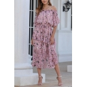 Amazing Womens Allover Flower Printed Short Sleeve Off the Shoulder Ruffled Trim Bow Tie Waist Midi Pleated A-line Dress in Pink