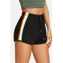 Leisure Womens Colorful Stripe Printed Drawstring Waist Relaxed Shorts in Black