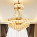 Gold 2-Tier Round Suspension Light Traditional Faceted Crystal 8 Lights Drawing Room Chandelier