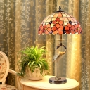 Flower-Border Dome Table Lamp Tiffany Stained Glass 2 Heads Gold Night Light with Crane Bird Base and Pull Chain