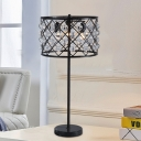 1 Bulb Crystal Nightstand Lamp Postmodern Black Crisscrossed Drum Cage Living Room Table Light