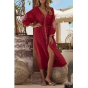 Beach Womens Sun Protection Flower Printed Blouson Sleeve V-neck Button down Bow Tie Waist Midi Shift Dress in Red