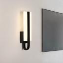 Acrylic Rectangle Panel Sconce Minimalism LED Wall Mounted Light Fixture in Black, White/Warm Light