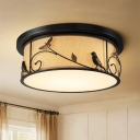 Drum Fabric Ceiling Mounted Lamp Country Style LED Bedroom Flush Lighting with Bird Deco in Black