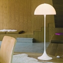 Single Bedroom Stand Up Light Minimalism White Finish Floor Standing Lamp with Semicircle Iron Shade