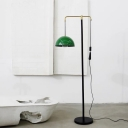 Metal Domed Shade Floor Standing Light Vintage Style 1-Bulb Green/Brass Finish Reading Floor Lamp