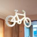 Bicycle Shape Ceiling Chandelier Modernist Crystal Block LED Chrome Pendant Lighting