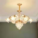 6 Lights Bedroom Ceiling Chandelier Contemporary Gold Hanging Pendant with Floral Crystal Shade