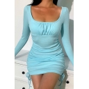 Edgy Girls Solid Color Long Sleeve Scoop Neck Ruched Drawstring Sides Mini Fitted Dress