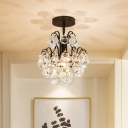 Modern Teardrop Semi Flush Ceiling Light Crystal Ball 1-Bulb Corridor Flush Mount Lamp in Black