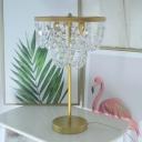 Postmodern Strand Night Table Light Crystal Block 1-Head Coffee Shop Nightstand Lamp in Gold