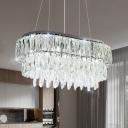 Crystal Prism Rectangle Island Light Fixture Modernism 11-Bulb LED Pendulum Lamp in Silver