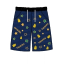 Cool Boys Allover Cartoon Printed Drawstring Waist Relaxed Shorts