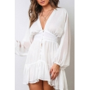 Pretty Ladies Semi-sheer Blouson Sleeve Deep V-neck Button down Ruffled Trim Short Pleated A-line Dress in White