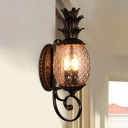 Pineapple Doorway Wall Sconce Country Style Lattice Glass 3-Bulb Black Wall Lighting Fixture