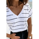 Stylish Ladies Stripe Printed Ruffled Bell Sleeves V-neck Relaxed Fit T Shirt in White