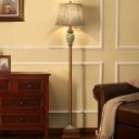 1 Head Leaf Patterned Fabric Floor Lamp Rustic Blue Drum Family Room Floor Reading Light