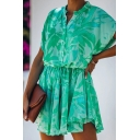 Popular Green Allover Floral Print Ruffled Short Sleeve V-neck Button up Drawstring Waist Short Pleated A-line Dress in Green