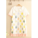 Stylish Womens Pineapple Printed Stringy Selvedge Contrasted Short Sleeve Peter Pan Collar Short Shift Dress in Beige