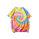 Trendy Mens Tie Dye Pattern Letter Respect Short Sleeve Round Neck Relaxed Fitted Tee Top