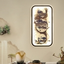 Asian LED Wall Mural Lighting Black Landscape Painting Wall Mount Light with Fabric Shade