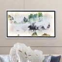 Chinese Landscape Painting Mural Lamp Asia Metal Parlor LED Wall Mount Light Fixture in Black