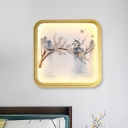 Khaki/Gold Square Wall Mural Lighting Asian Fabric LED Wall Mounted Lamp with Branch and River Pattern