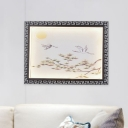 Landscape LED Mural Lighting Asian Metallic Black Wall Sconce Light Fixture for Living Room