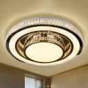 Crystal Nickel Finish Flush Light Round Modernist LED Close to Ceiling Lighting Fixture