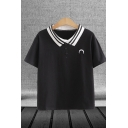 Basic Girls Moon Embroidery Short Sleeve Striped Turn down Collar Button up Slim Fit Polo Shirt