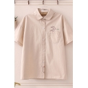 Casual Womens Logo Embroidered Button-up Turn-down Collar Drop Shoulder Short Sleeve Regular Fit Shirt with Pocket
