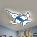 Kids Aircraft Flush Ceiling Light Fixture Acrylic Playroom LED Flush Mount Lighting in Blue/White