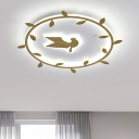Gold Finish Rattan-Ring Flush Mount Nordic LED Acrylic Flushmount Lighting with Bird Pattern in White/Warm Light