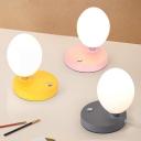 Cream Glass Egg-Shape Night Table Light Macaron Single Light Black/Yellow/White Finish Desk Lamp