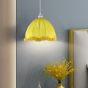 Head Bedside Pendant Modernism Yellow Ceiling Suspension Light with Scalloped Dome Fabric Shade, 12